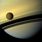 Moon Titan and Saturn
